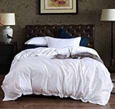 AIKOFUL Luxury 3-Piece Comforter Set-1000 Thread Count 100% Egyptian Cotton Duvet Cover Set with Button Closure & Corner Ties-1 Duvet Cover 2 Pillow Sham(Queen,White) Twin Size White