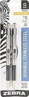 Zebra Pen 41312 G-301 Stainless Steel Retractable Gel Pen, Medium Point, 0.7mm, Black Ink, 2-Count