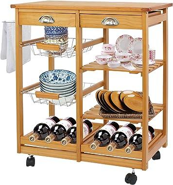 F2C Wooden Rolling Kitchen Island Trolley Cart Storage Cart Rack Shelf Organizer W/Drawers (Wooden Kitchen Island)