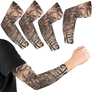 infactory Tattoo-Armstrümpfe: 4er-Set Tattoo-Armlinge Wild