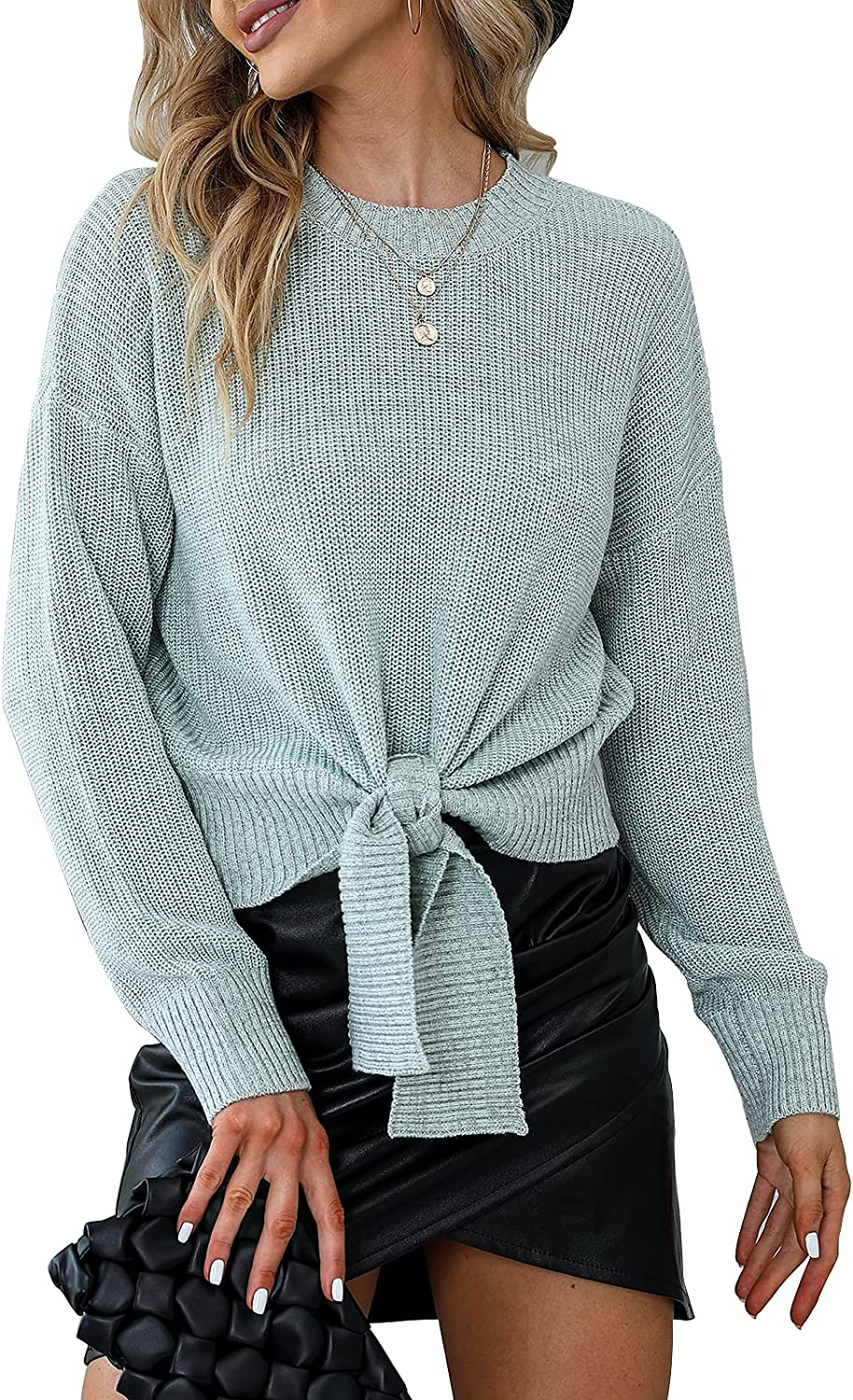 EXLURA Women's Tie Front Sweater Long Sleeve Crew Neck Knit Ribbed Pullover Waist Knot Front Casual Tops Jumper