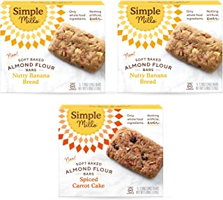 Simple Mills, Snacks Variety Pack, Nutty Banana Bread, Spiced Carrot Cake Variety Pack, 3 Count (Packaging May Vary)