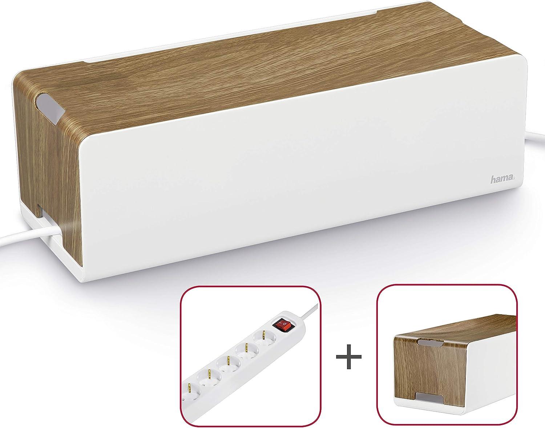 Hama Kabelbox Maxi mit Gummifüßen Gummifüßen Gummifüßen (Kabelmanagement, 40 x 15,5 x 13 cm (B x T x H)) Woodstyle  Steckdosenleiste 6-fach mit Safe-Energy-Schalter, weiß B07KSRFZZK   Erschwinglich  90e6ee
