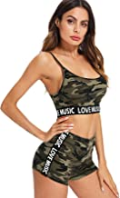 SOLY HUX Women's Contrast Letter Tape Camo Crop Cami Top & Shorts Set