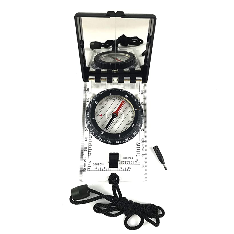 DETUCK(TM Foldable Global Compass Field Compass Navigation | Professional Compass Adjustable Declination | Magnetic Map Compass with Mirror
