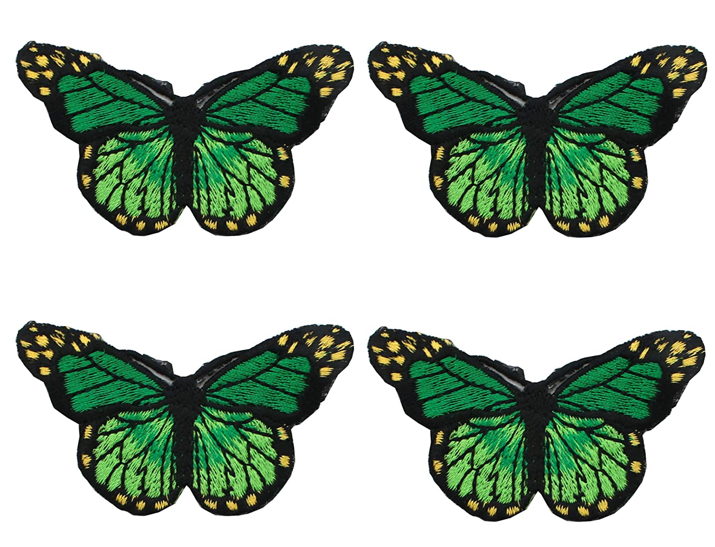 4 Piece Embroidery Iron On Appliques Blue Butterfly Motifs Craft Sewing Embroidery Patches (green)