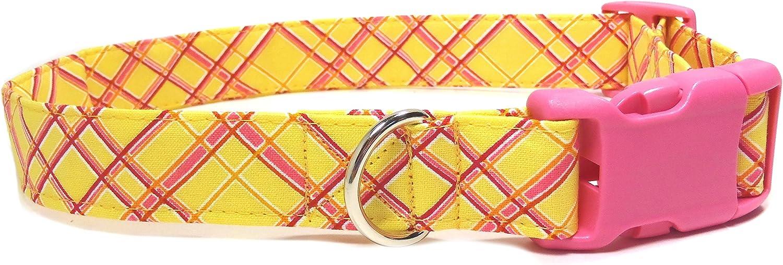 Pink Lemonade Collar with Pink Buckle, Handmade Designer Cotton Dog Collar, Adjustable Fabric Collars (L)