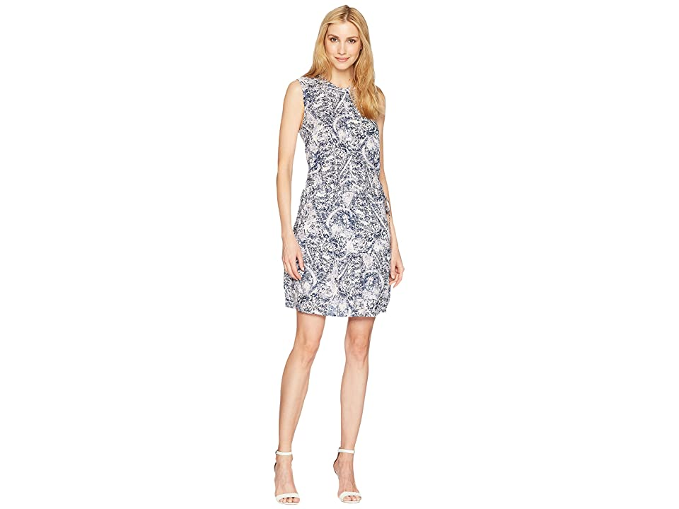 Tribal Printed Dress with Placket and Waist Tie (Blue Haze) Women