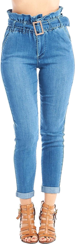 Khanomak Women's Paper Bag Elastic Belted Waist Denim Slim Skinny Jeans Pants