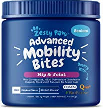 Zesty Paws Senior Advanced Glucosamine for Dogs - for Hip & Joint Arthritis Pain Relief - Chondroitin, Turmeric Curcumin & MSM - Mobility Supplement with Green Lipped Mussel & Hyaluronic Acid