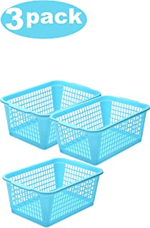 YBM HOME Plastic Perforated Storage Basket Bin Office Drawer, Shelf Desktop Countertop Tray Organizer 32-1184 (3, Blue)