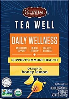 Celestial Seasonings TeaWell Herbal Tea, Daily Wellness, Organic Honey Lemon, 12 Count (Pack of 6) (Packaging May Vary)