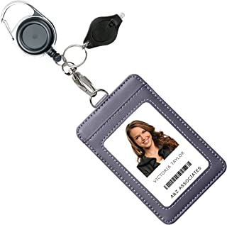 Genuine Leather ID Badge Holder Wallet with Heavy Duty Carabiner Retractable Reel, Key Ring and Metal Clip, 3 Card Pockets. Holds Multiple Cards & Keys. Bonus Key Chain Flashlight. Vertical. Gray.