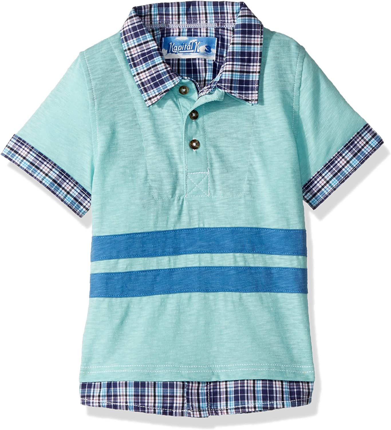 Kapital K Boys' 2-in-1 Layered Polo with 3D Stripes