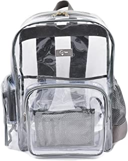 LYTek Heavy Duty Clear Backpack with Laptop Sleeve and Security Pocket, See Through Backpack with Sturdy Stitches and Durable Military Grade Nylon Bottom, Unisex for School, Work, Stadiums.Medium Large