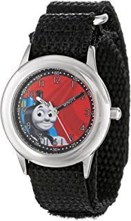 Thomas and Friends Kids' W000724 Stainless Steel Time Teacher Black Nylon Strap Watch