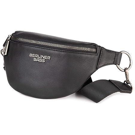 Berliner Bags Premium Bauchtasche Mona Fanny Pack aus Leder Umhängetasche Damen Herren (Schwarz)