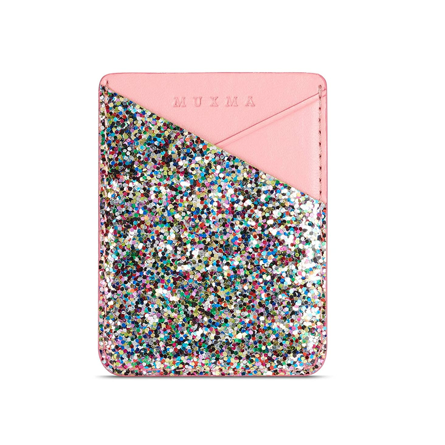 3M Adhesive Purse,Glitter Slim 2 Card Slots Wallet Pocket Stick on Phone/Tablets
