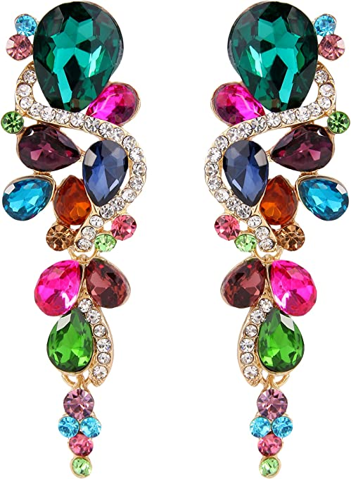 Clearine Women's Bohemian Boho Crystal Wedding Bridal Multiple Teardrop Chandelier Long Dangle Earrings