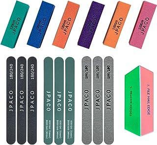 JPACO Professional Manicure Kit, 16 Pack (6 Buffer Block, 6 Nail Files, 3 Shine Buffer Files, 1 Shine Buffer Block) 100/180 Zebra Files, 180/240 Nail Files (16 PCS)