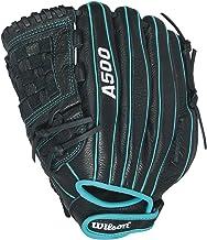 Wilson Siren Fastpitch Softball Glove 12 inch, Black/Teal