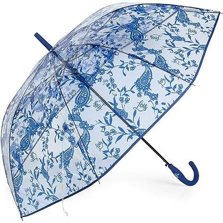 Lois - Paraguas Mujer Largo Estampado Transparente Antiviento. Apertura Automática. 8 Varillas. Marca LOIS. Estructura Reforzada. 13108, Color Azul