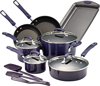 Rachael Ray 14558 Hard Porcelain Enamel Nonstick Cookware Set, 14-Piece, Purple Gradient