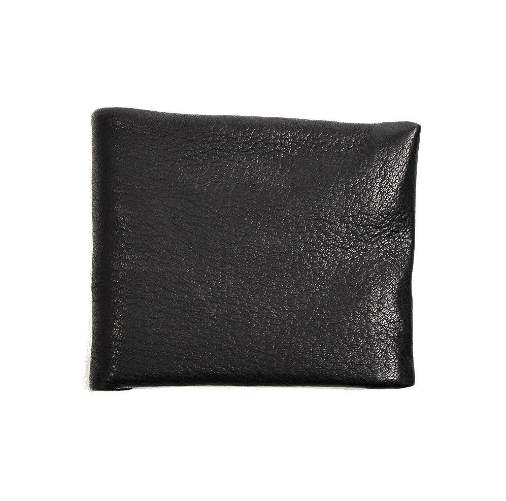 水銀の飛躍電卓【PARLEY】MEN'S 二つ折り 小銭入れ付き財布 ディアシーブ 鹿革 ブラック 日本製 DS-26 BLACK