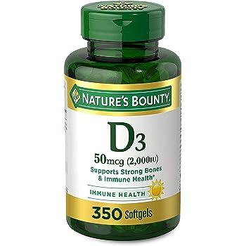 Vitamin D by Nature's Bounty for Immune Support. Vitamin D Provides Immune Support and Promotes Healthy Bones. 2000IU, 350 Softgels