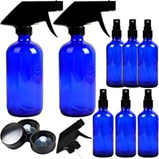 8 Pack Empty Cobalt Blue Glass Spray Bottles, 2 Pack 8oz and 6 Pack 4oz Refillable Containers for Essential Oils, Cleaning Products, Aromatherapy, Durable Black Trigger Sprayer Fine Mist and Stream