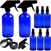 8 Pack Empty Cobalt Blue Glass Spray Bottles, 2 Pack 8 Ounce and 6 Pack 4 Ounce Refillable Containers for Essential Oils, Cleaning Products, Durable Black Trigger Sprayer Fine Mist and Stream
