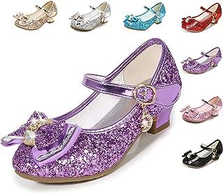 Cadidi Dinos Girls Dress Shoes Wedding Party Heel Mary Jane Princess Flower Shoes (Toddler/Little Kid/Big Kid) Purple Size: 9 Toddler