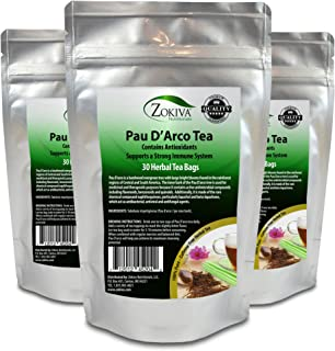 PAU D'Arco Tea 3-Pack 100% Pure (90 Premium Bags) All-Natural Immune System Support