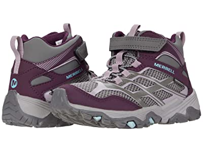 Merrell Kids Moab FST Mid A/C Waterproof (Little Kid/Big Kid) (Charcoal/Nirvana) Girls Shoes