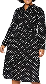 Dorothy Perkins Curve Curve Black Mono Spot Tie Neck Shirt Dress Vestito Casual Donna