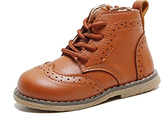 YWPENGCAI Unisex Boys Girls Ankle Boots Brogue Style Toddler Soft PU Leather Boots