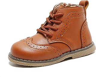 YWPENGCAI للجنسين بنين بنات أحذية الكاحل نمط بروغ طفل لينة بو الجلود الأحذية