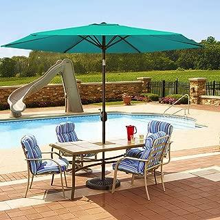 MOVTOTOP Patio Umbrella 9Ft UPF 50+ Premium Outdoor Table Umbrella, Market Umbrella with Push Button Tilt and Crank for Garden, Deck, Backyard, Pool (Green)