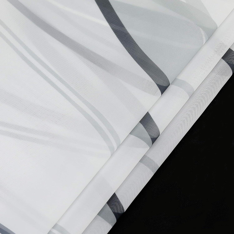 ESLIR Gardinen mit /Ösen Vorh/änge Gardinenschals Transparent Schlaufenschal Wellen Muster Voile Blau BxH 140x145cm 1 St/ück