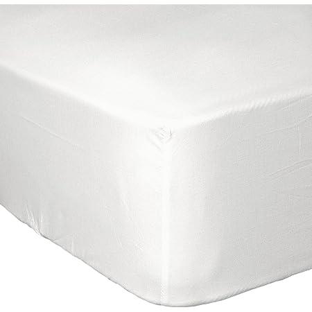HOME LINGE PASSION Drap Housse 57 Fils, Coton, Blanc, 90x190 cm