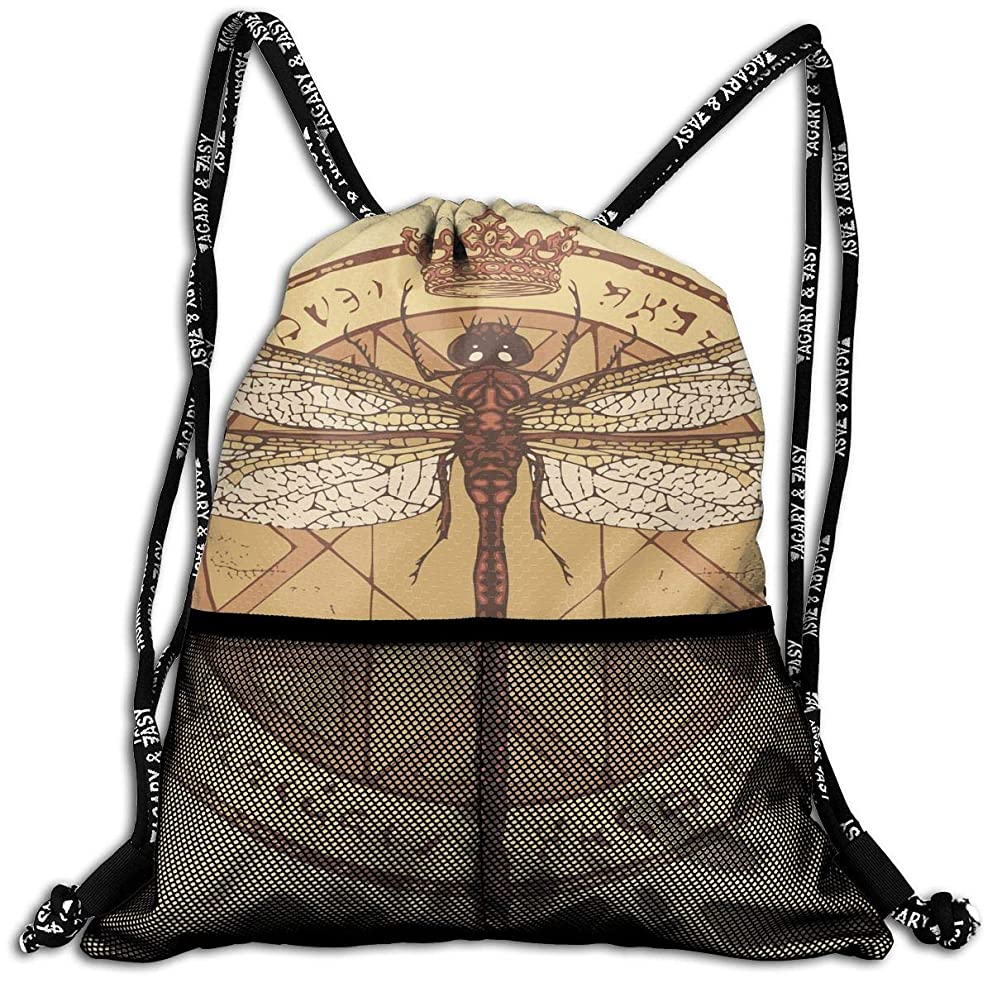 Men & Women Magical Dragonfly Pattern String Backpacks Portable Draw Cord Bag For Gym Sports Travel
