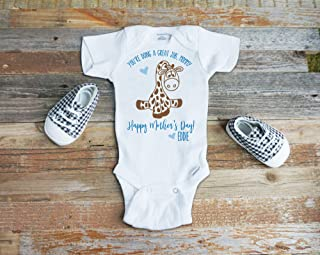 Happy Mother's Day You're Doing a Great Job Mommy Best Mom Onesie Personalized Giraffe Shirt