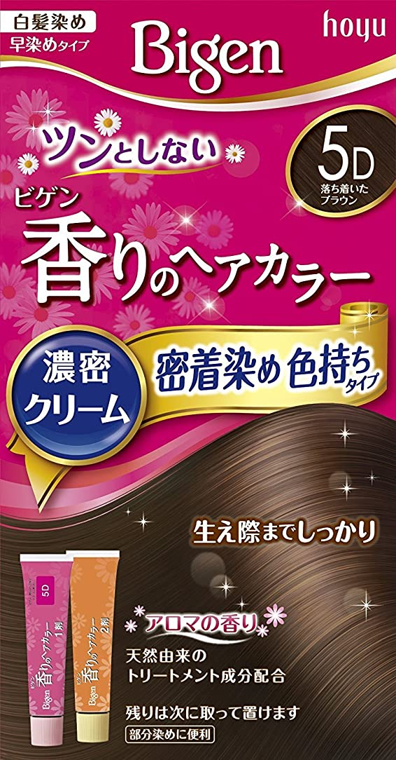 嫌な協同航空便ホーユー ビゲン香りのヘアカラークリーム5D (落ち着いたブラウン) 40g+40g ×6個