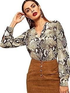 Women's Casual Long Sleeve Button Down Shirt Leopard Print Blouse Top