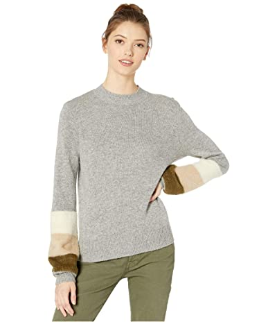 Cupcakes and Cashmere Drew Mock Neck Sweater w/ Sleeve Stripes (Heather Grey) Women