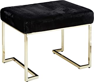 Christopher Knight Home Cecilia Glam Black Furry Bench with Gold Metal Legs