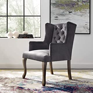 Modway Realm French Vintage Tufted Performance Velvet Kitchen and Dining Room Arm Chair in Gray