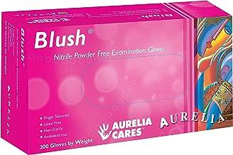 Aurelia Blush, Pink Nitrile Gloves, 2.5 Mil Thick, Size:Medium (200 Count Box)