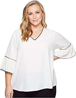Calvin Klein Plus - Plus Size V-Neck Blouse w/ Piping