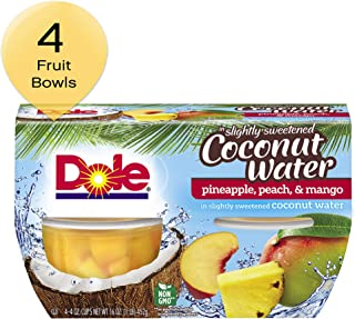DOLE FRUIT BOWLS, Pineapple, Peach, and Mango in Slightly Sweetened Coconut Water, 4 Ounce (4 Cups)